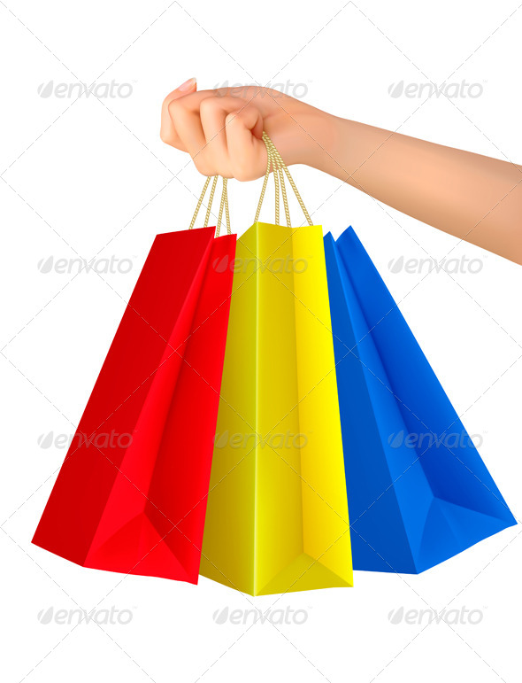 GraphicRiver Female Hand Holding Colorful Shopping Bags 5742037