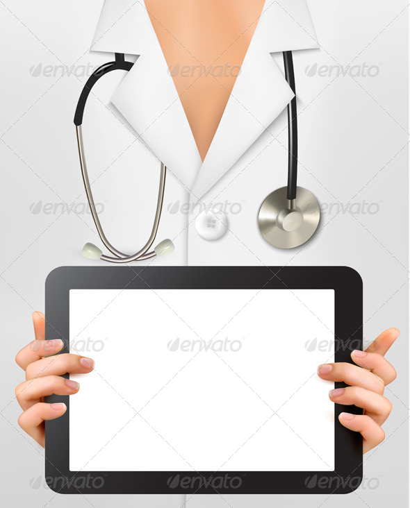 GraphicRiver Doctor with Stethoscope Holding Digital Tablet 5742039