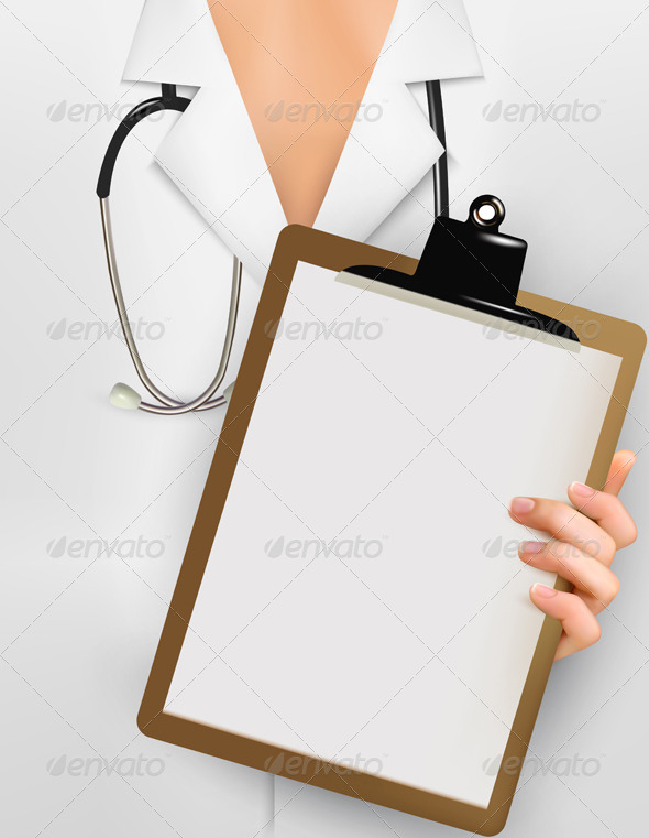 GraphicRiver Doctor with Stethoscope Holding Clipboard 5742057