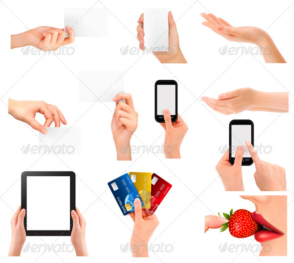 GraphicRiver Set of Hands Holding Different Business Objects 5742091