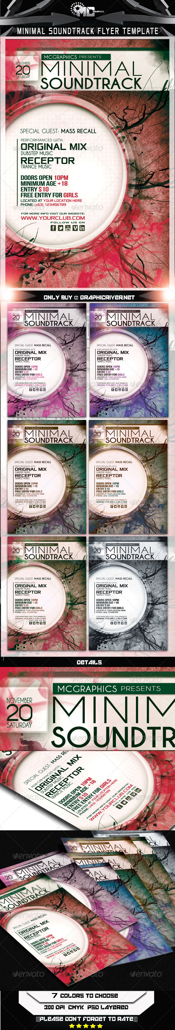 GraphicRiver Minimal Soundtrack Flyer Template 5742270