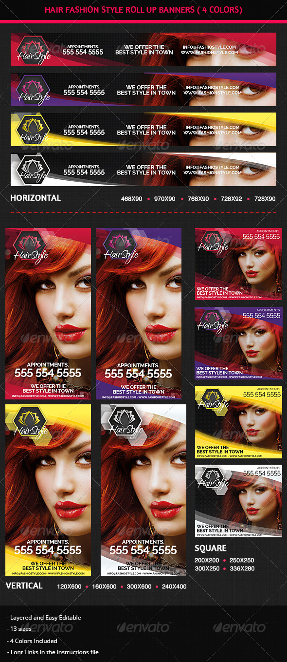 GraphicRiver Hair Salon Fashion Style Web Advertisement Banners 5742357
