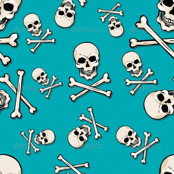 GraphicRiver Vector Seamless Pattern with Skulls and Bones 5743375