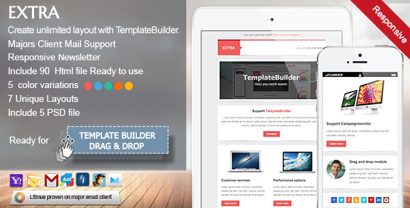 ThemeForest Extra Responsive E-mail Template 5735990