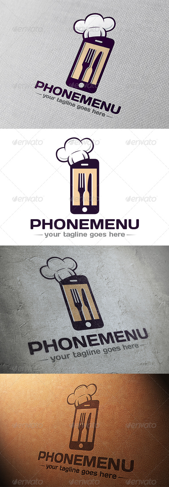 Phone Restaurant App Logo - Objects Logo Templates