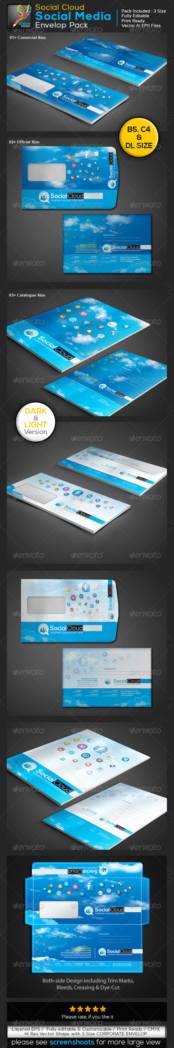 Social Cloud Social Media 3 Size Envelop Pack