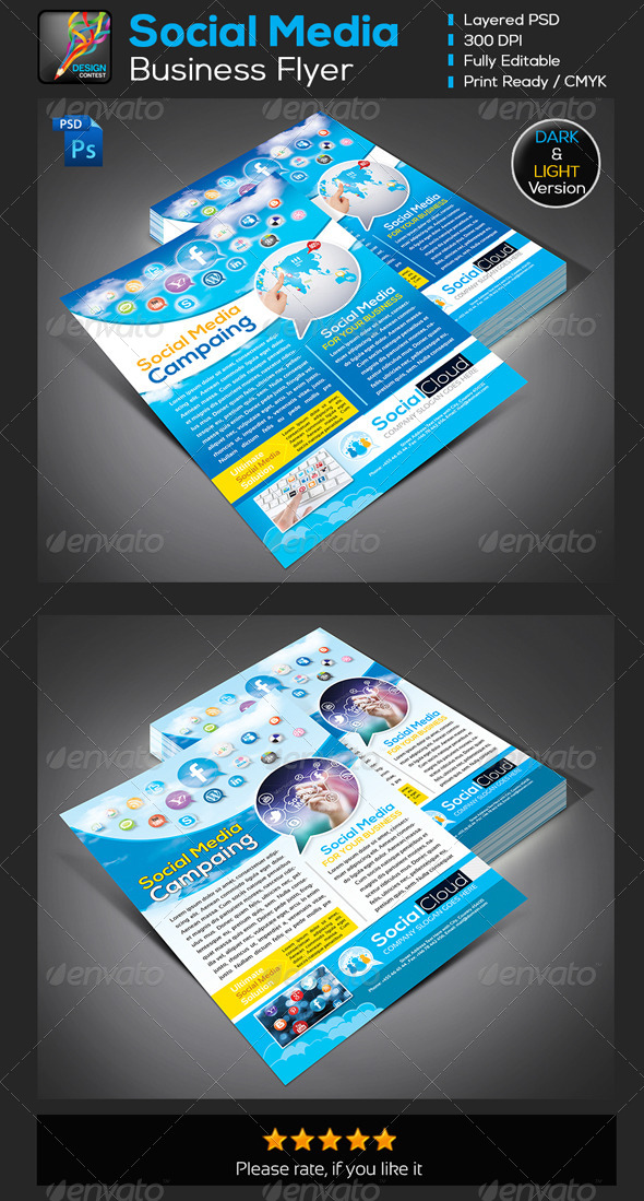 GraphicRiver Social Cloud Social Media Business Flyers Adds 5743674