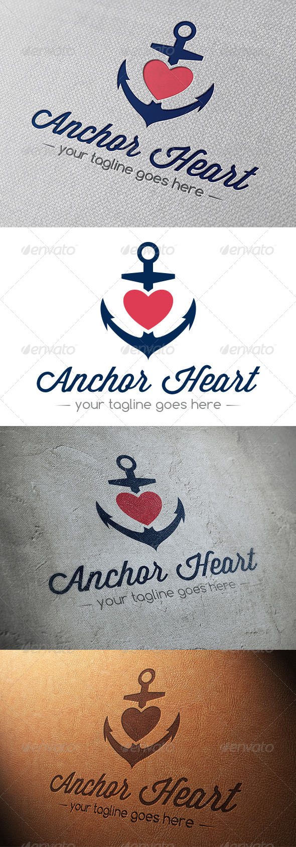 Marine Anchor Love Logo - Objects Logo Templates