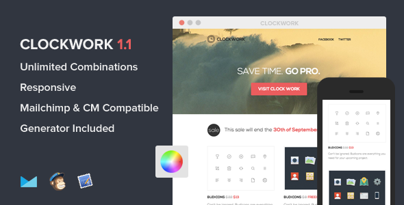 ThemeForest Clockwork Responsive Flat E-mail template 5736636