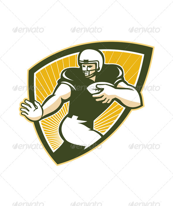 GraphicRiver American Football Running Back Shield 5744242
