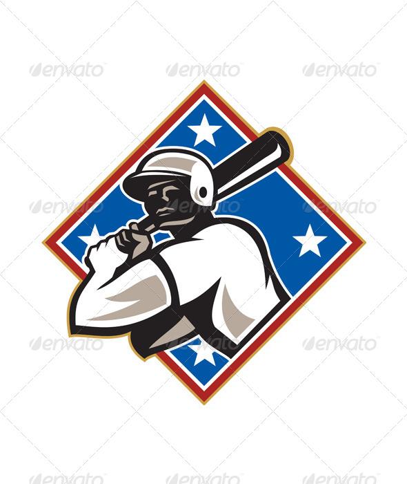 GraphicRiver Baseball Hitter Bat Diamond Retro 5744247