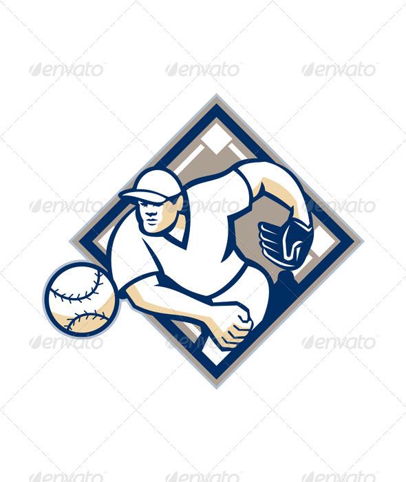 GraphicRiver Baseball Pitcher Throwing Ball Diamond 5744252