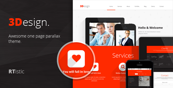 ThemeForest 3Design Awesome One Page Parallax Theme 5744422