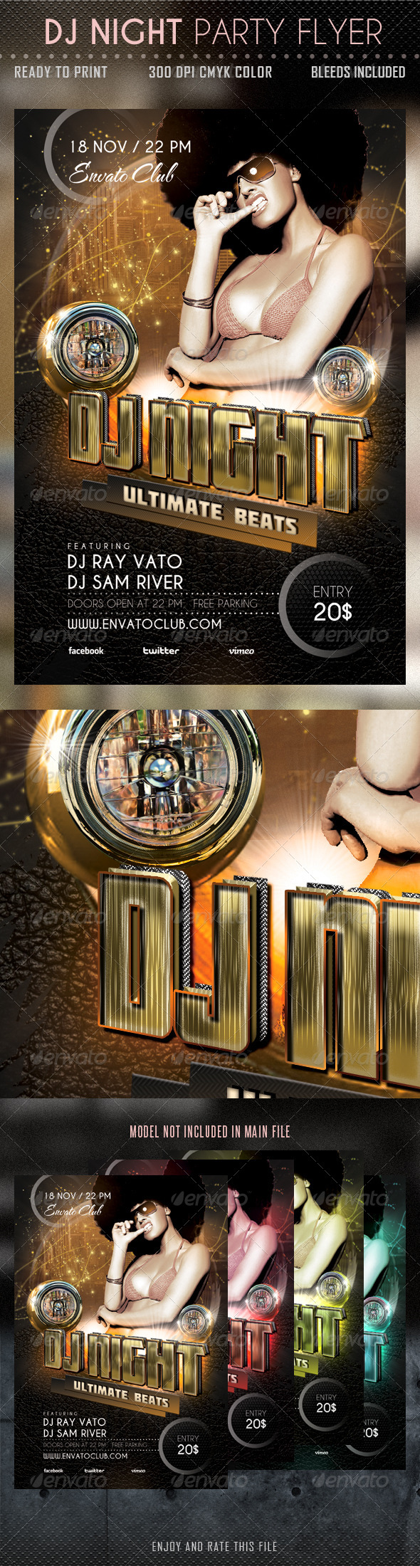 GraphicRiver DJ Night Party Flyer 5744436