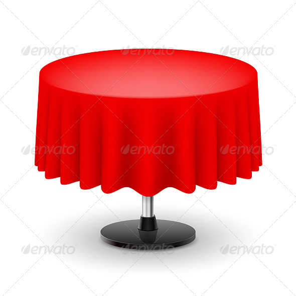 GraphicRiver Round Table with Red Cloth 5744454