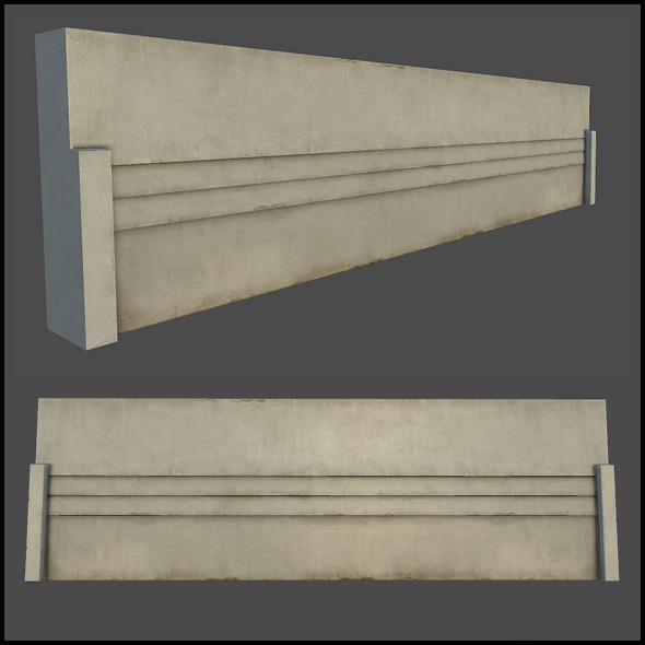 Concrete Wall Section - 3DOcean Item for Sale