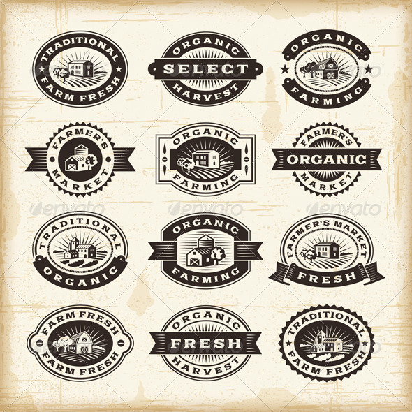 GraphicRiver Vintage Organic Farming Stamps Set 5744484