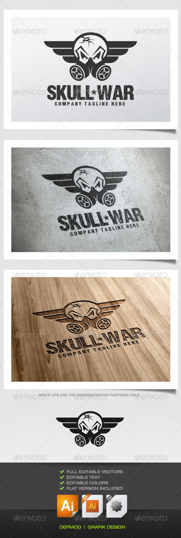 Skull War Logo - Symbols Logo Templates