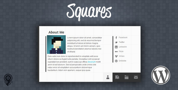 ThemeForest Squares HTML5 vCard Portfolio Wordpress Theme 5597309