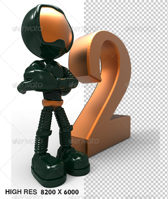 2nd 3D Golden Character With Copper Number Two