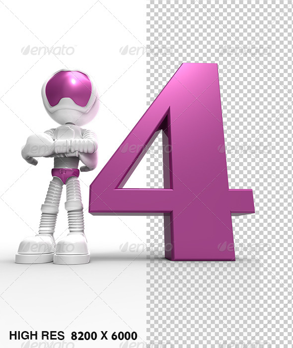 GraphicRiver 4th 3D Character With Pink Number Four 5745608