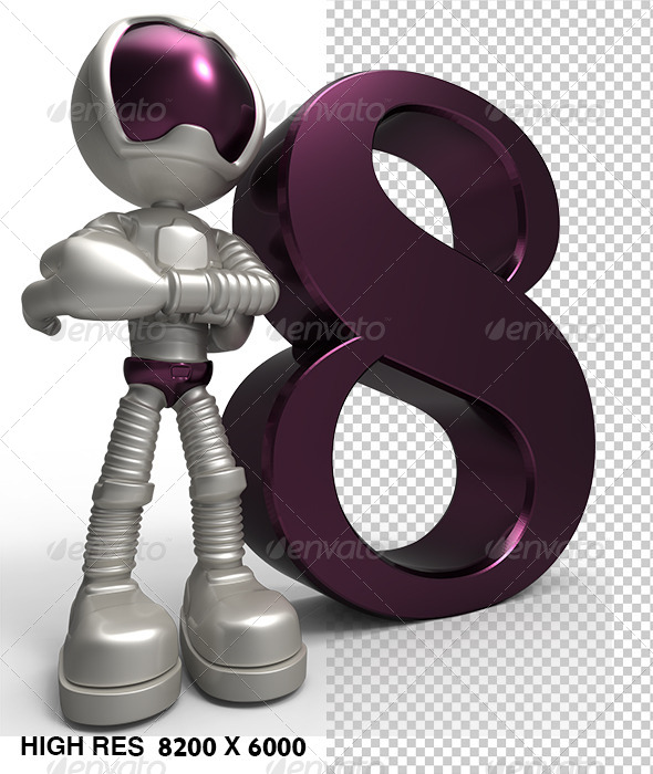 GraphicRiver 8th 3D Golden Character with Purple Number Eight 5746198