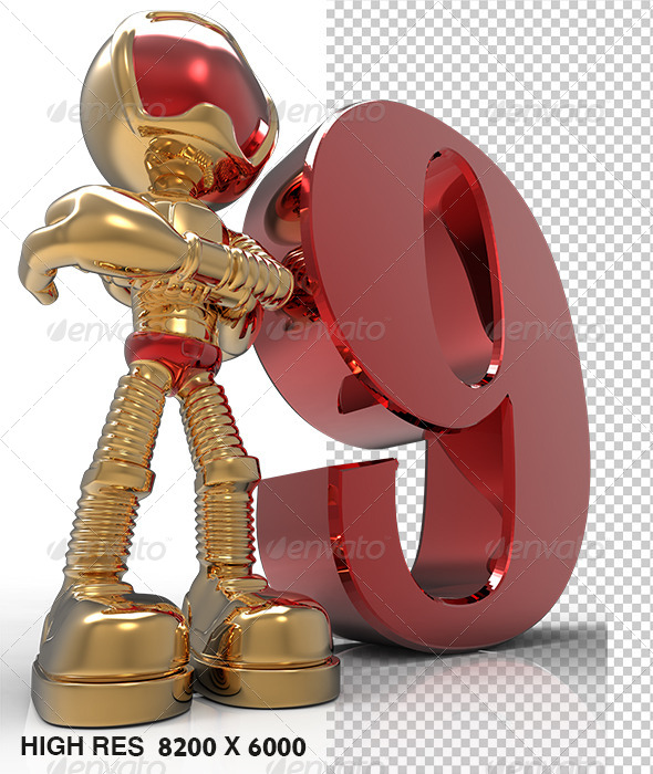 9th 3D Golden Character With Red Number Nine