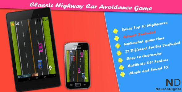 CodeCanyon Classic Highway Car Avoidance Game 5746519