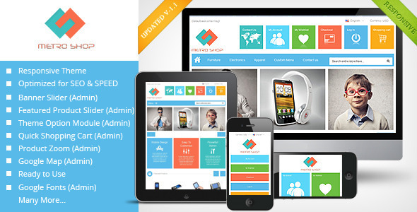 "Metroshop – Responsive Magento Theme ""Metroshop"" – is a responsive magento theme. A premium magento theme with clean, modern and stylish"