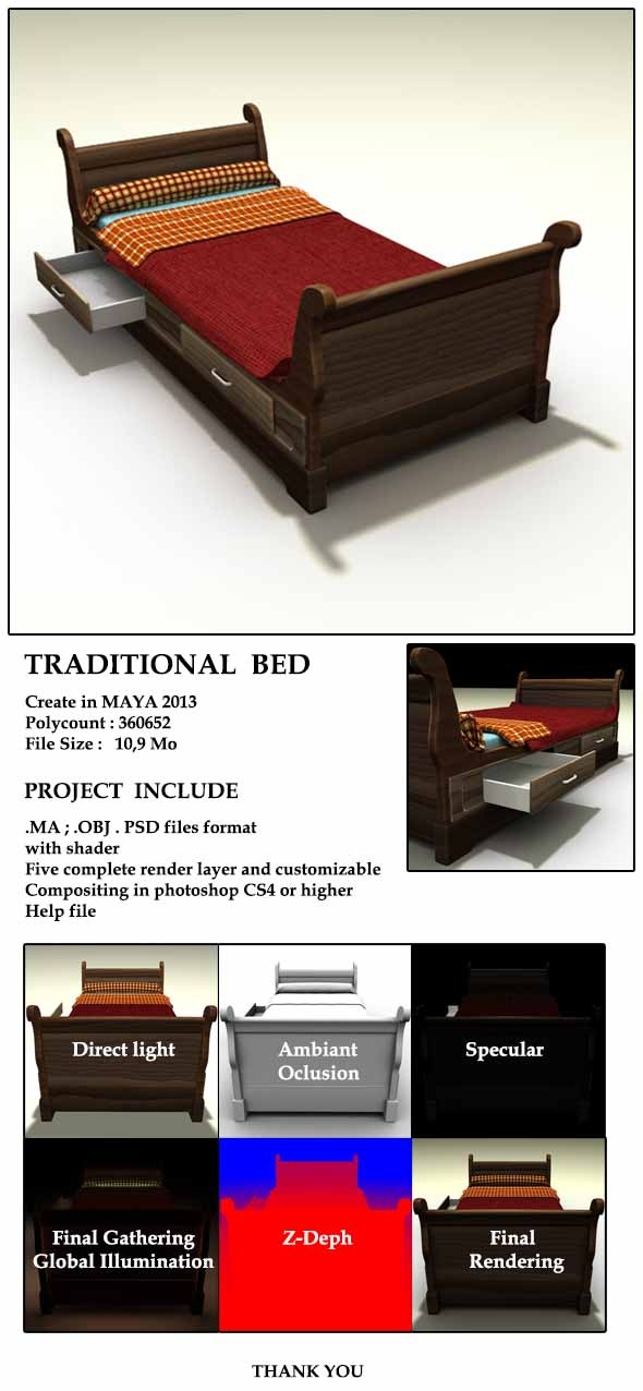 3DOcean Traditional Bed 5733531