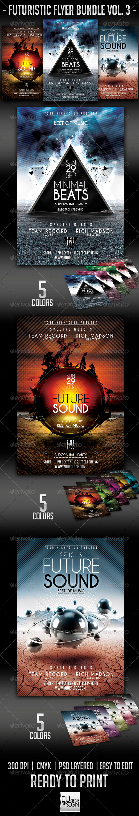 Futuristic Flyer Bundle Vol. 3 - Clubs & Parties Events