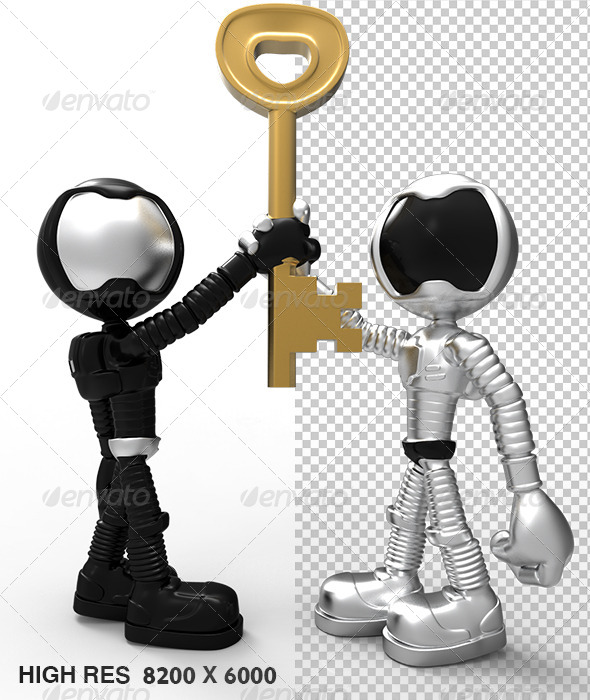 Silver Astronaut 3D Character Holding Success Key