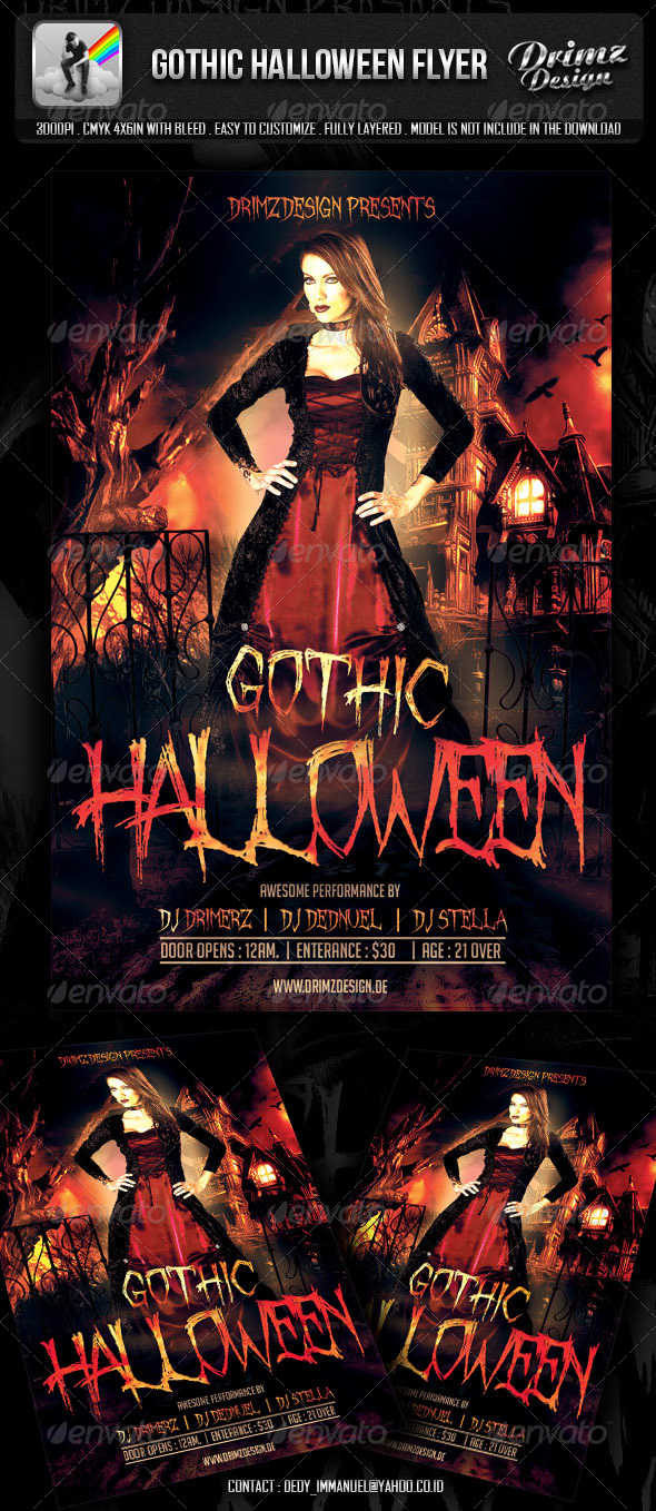 GraphicRiver Gothic Halloween Flyer 5747281