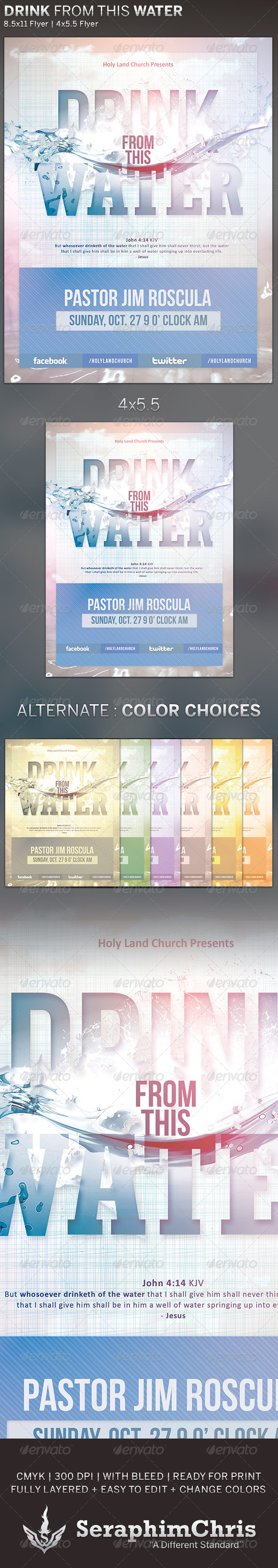 Drink from this Water: Church Flyer Template - Church Flyers