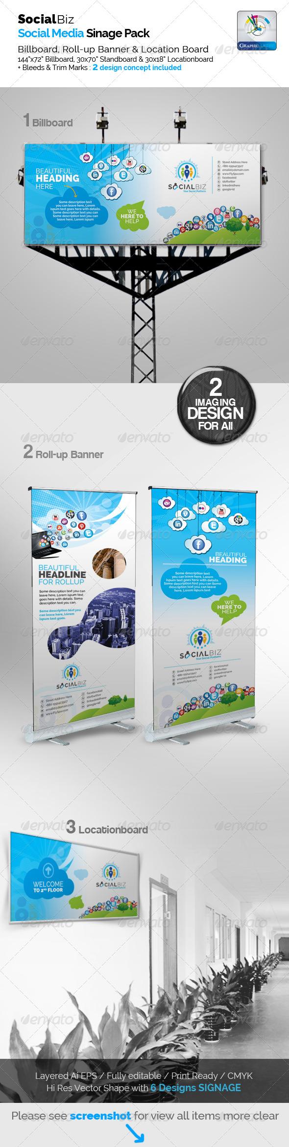 GraphicRiver SocialBiz Clean Social Media Signage Pack 5747603