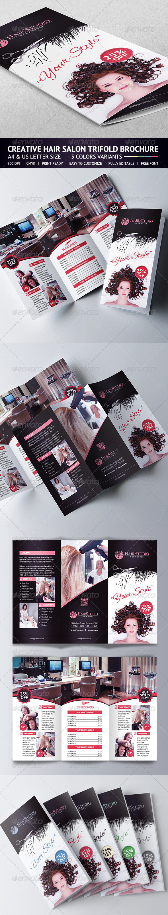 GraphicRiver Hair Salon Trifold Brochure 5747895