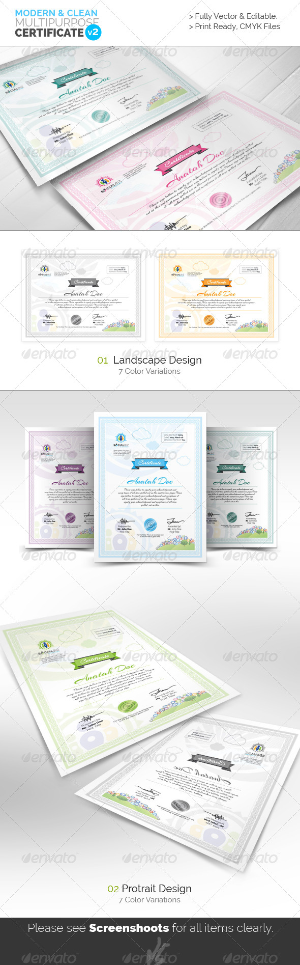 GraphicRiver Clean Multipurpose Certificates v3 5748518