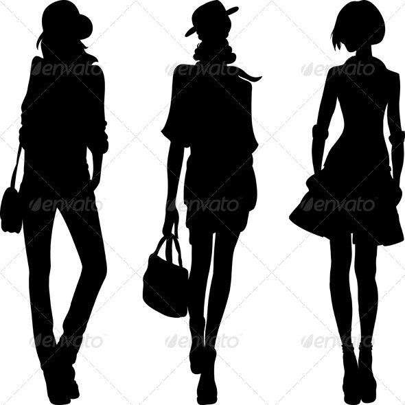 GraphicRiver Vector Silhouette of Fashion Girls Top Models 5748663