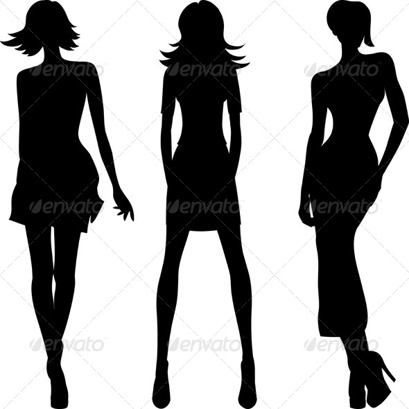Vector Silhouette of Fashion Girls Top Models  - People Characters