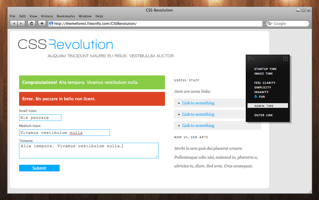 CSS Revolution - Administrator page example
