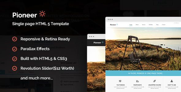 ThemeForest Pioneer One Page Parallax Html Template 5741950