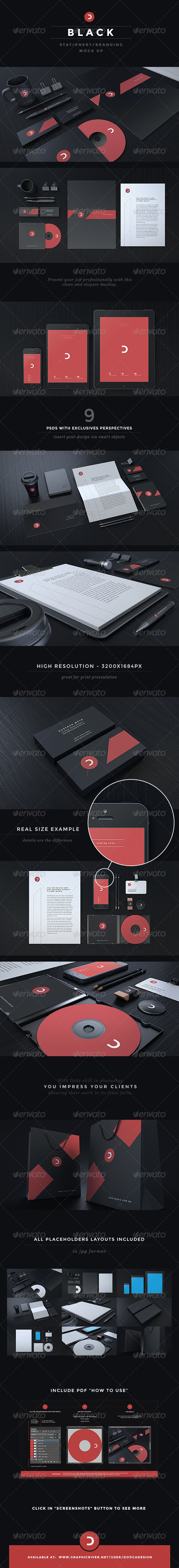 Black Stationery / Branding Mock-Up - Stationery Print