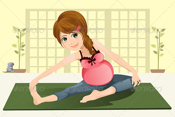 GraphicRiver Pregnant Woman Doing Yoga 5750057