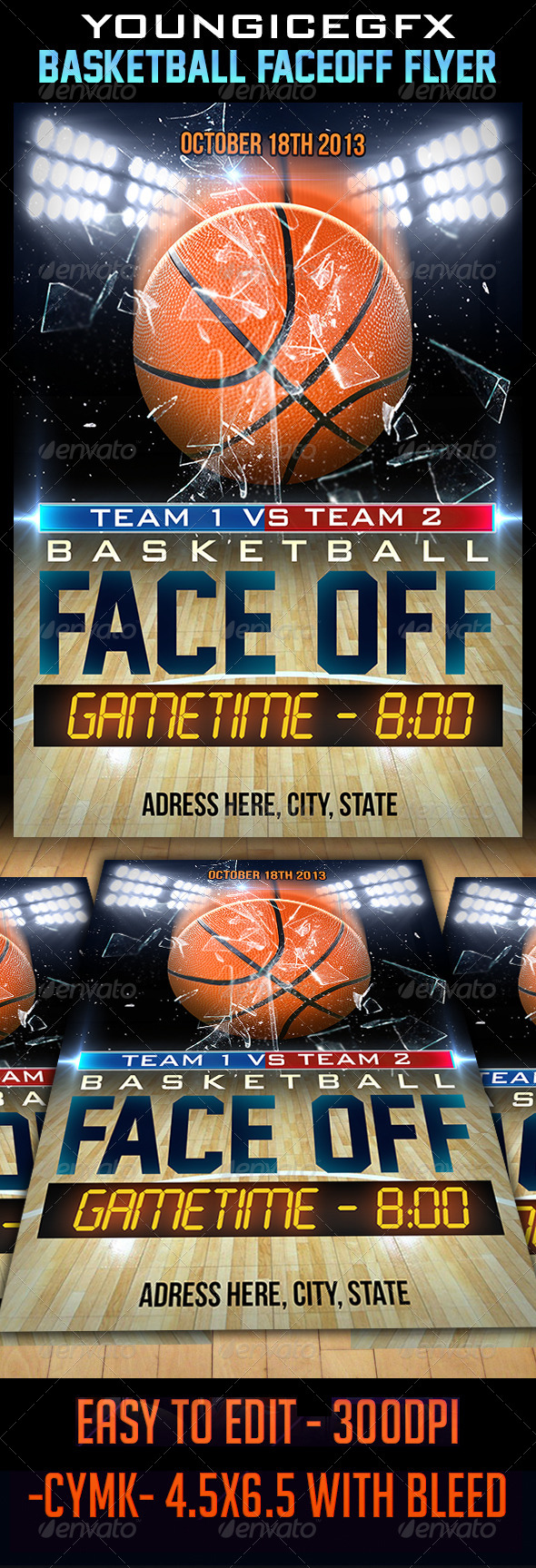 GraphicRiver Basketball FaceOff Flyer 5750431