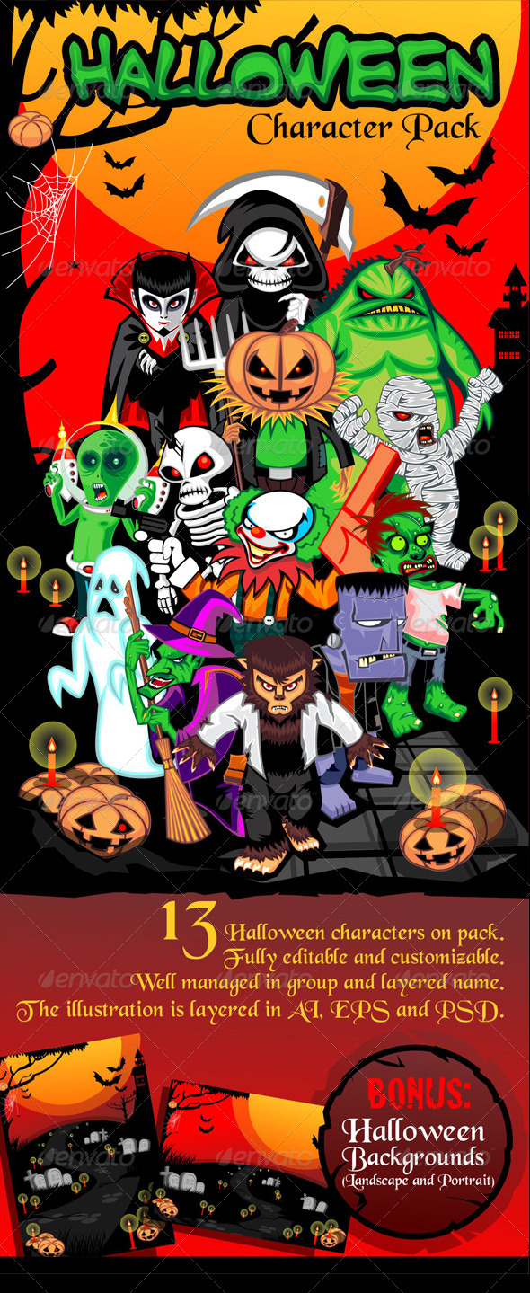 GraphicRiver Halloween Character Pack 5750471