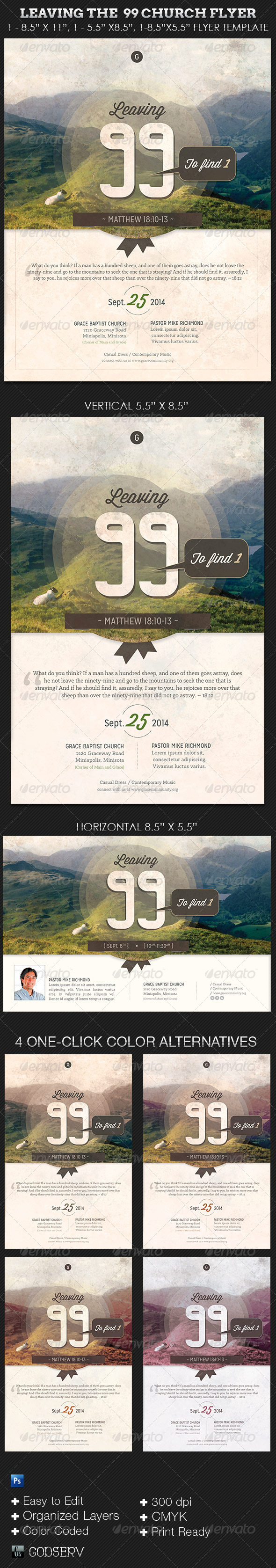 GraphicRiver Leaving The 99 Church Flyer Template 5750476