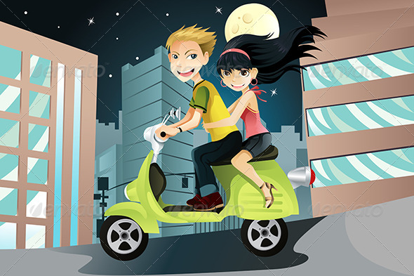 GraphicRiver Couple Riding Motorcycle 5750754