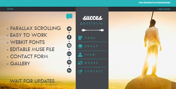 ThemeForest Success Portfolio One Page MuseTemplate 1.0 5727977