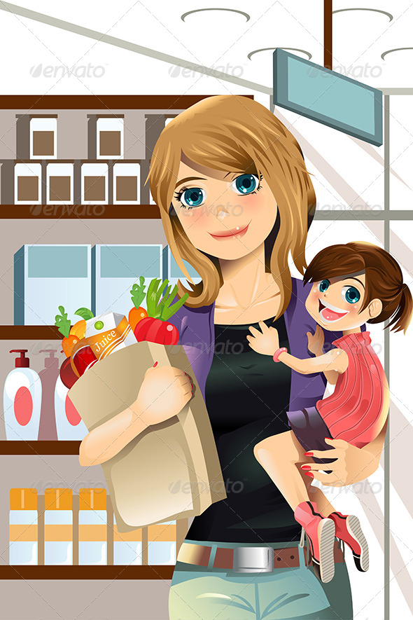 GraphicRiver Mother and Daughter Shopping 5751567