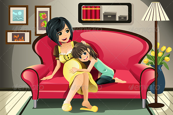 GraphicRiver Pregnant Mother with her Daughter 5751599